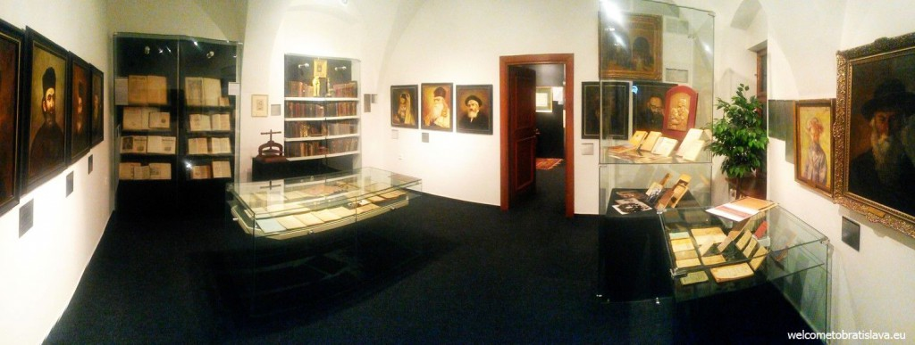 This room is full of old photographs, books and portraits of important Jews