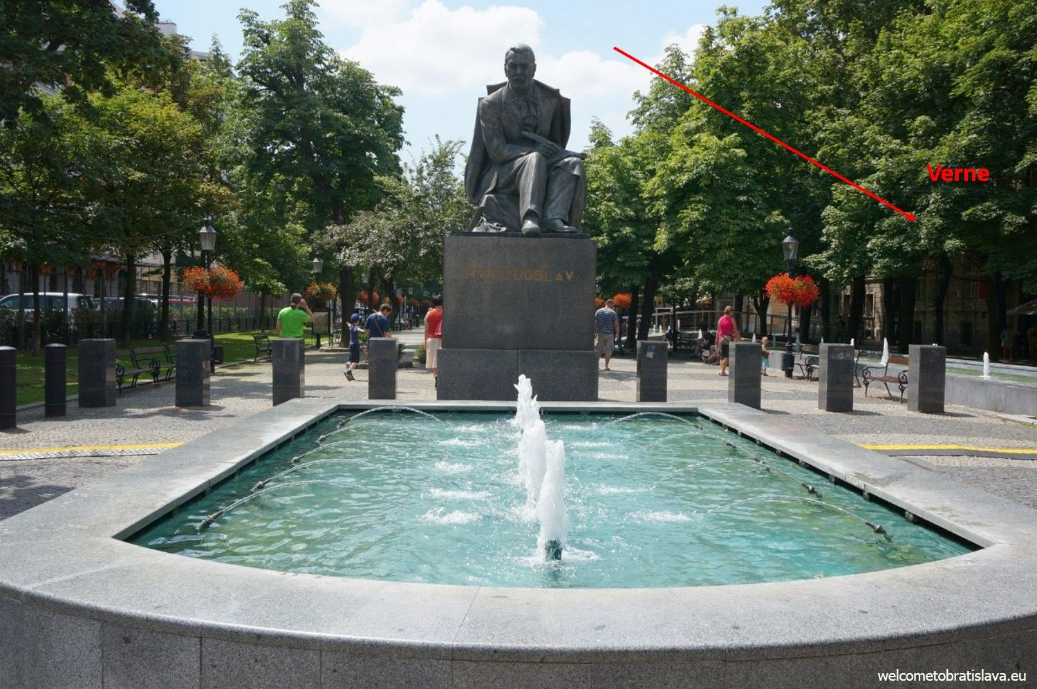 Verne is located by the right side from this statue, displaying an important Slovak poet, Mr P. O. Hviezdoslav