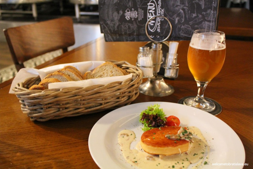 Mestiansky pivovar: grilled ostiepok (Slovak cheese) with a mushroom sauce served with fresh bread