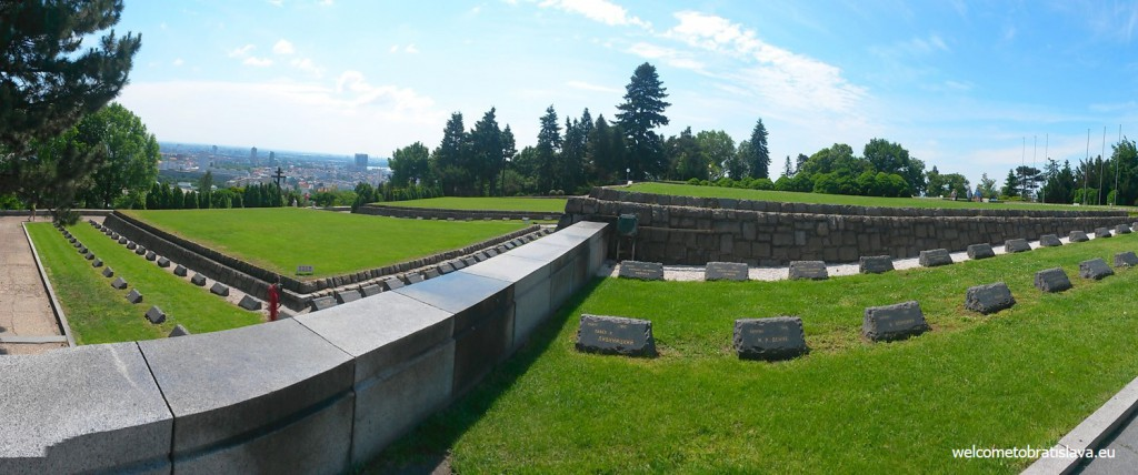 The wide green area is the cemetery with graves of fallen soldiers