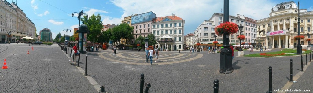 The historical building of the Slovak National Theater is at the Hviezdoslav's square