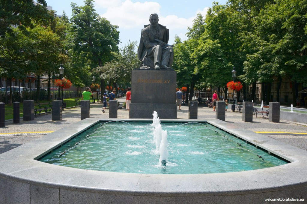 The statue of Pavol Országh Hviezdoslav in the middle of the square