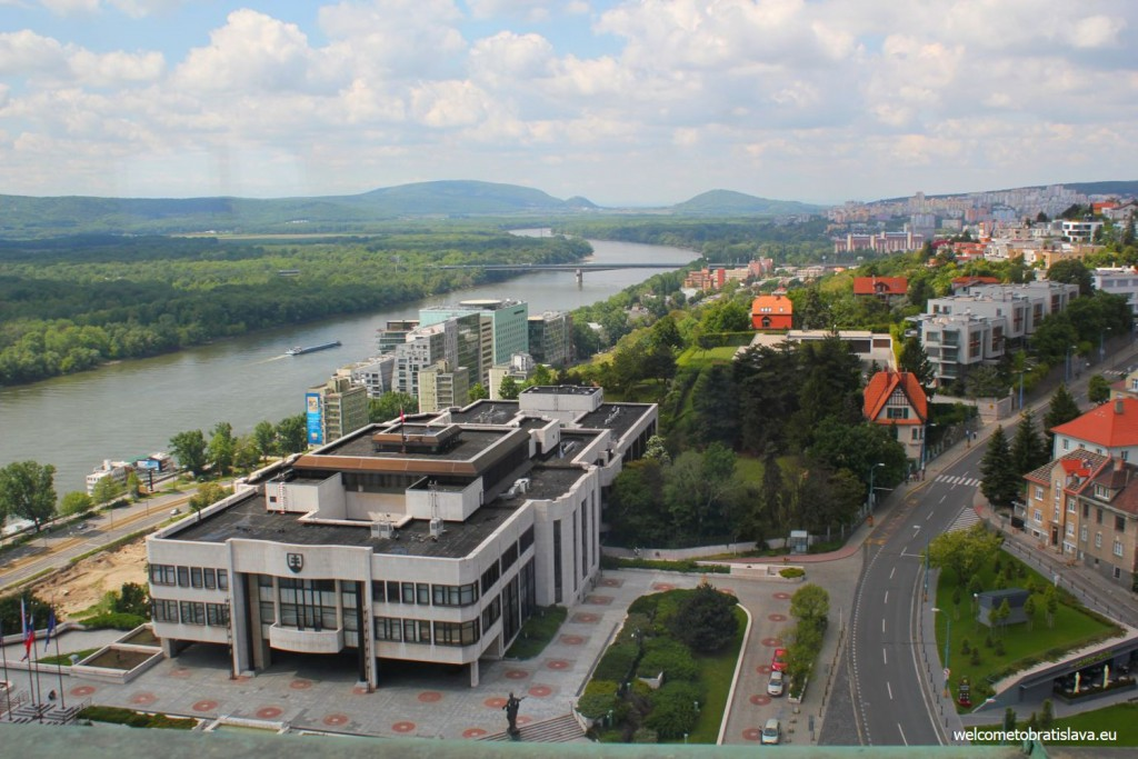 View on the Danube and Austria from the Crown Tower
