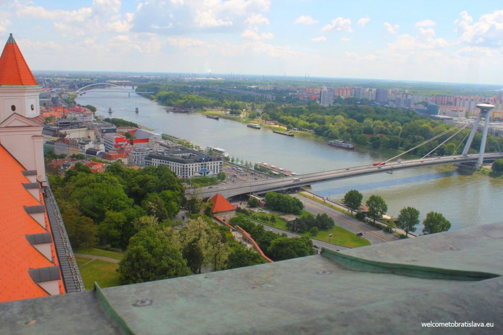 View on the Danube and UFO bridge from the Crown Tower