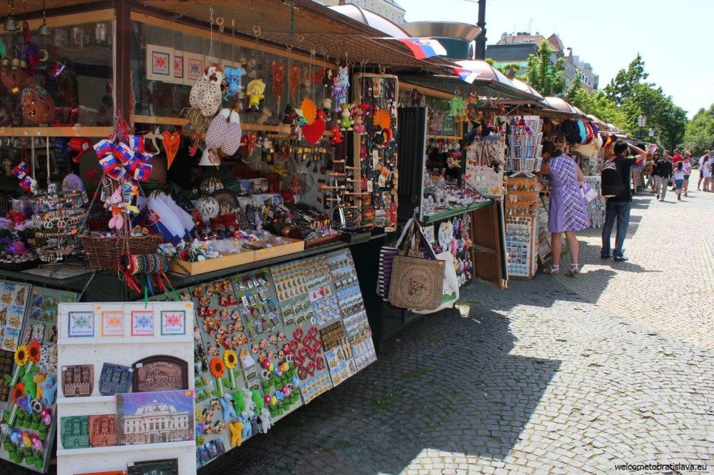 Gift stalls with souvenirs are set up in front of the Carlton hotel
