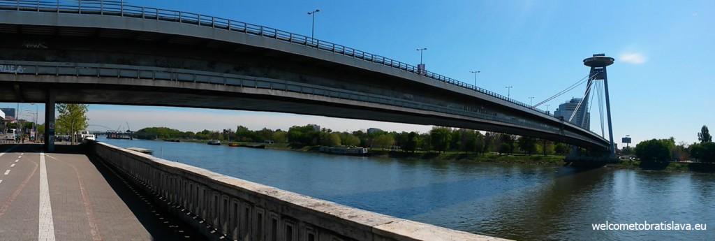 Danube bank: UFO bridge and tower