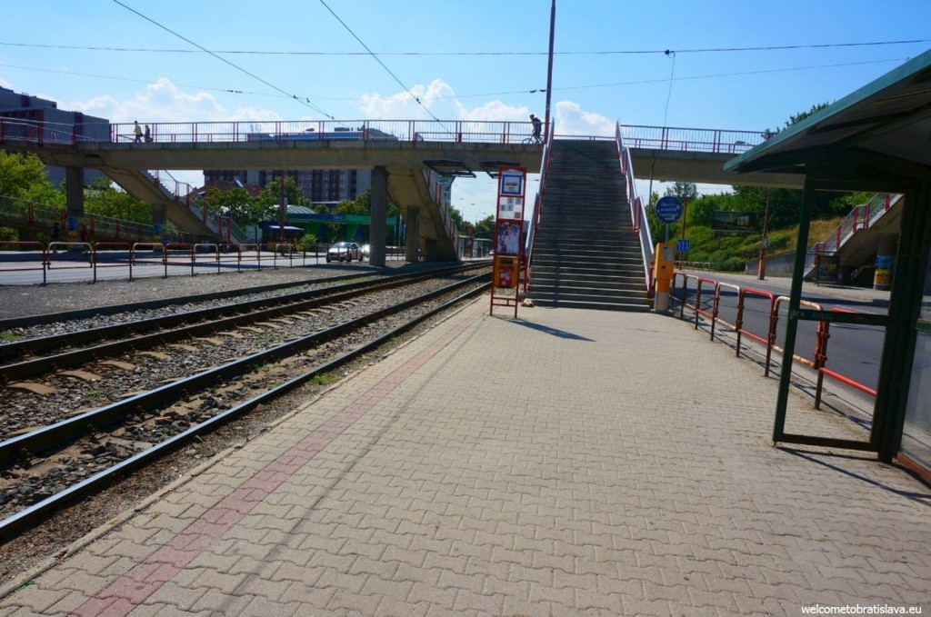 When you get off the tram, you will see a bridge in front of you