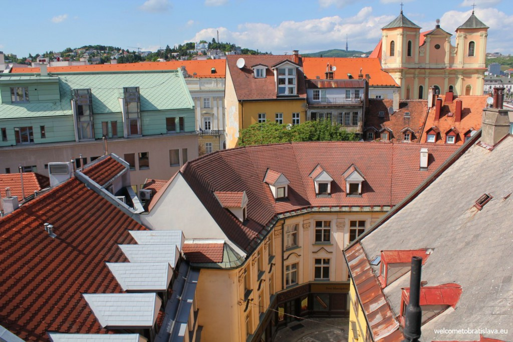 View on the historical part of Bratislava from the top floor of the museum