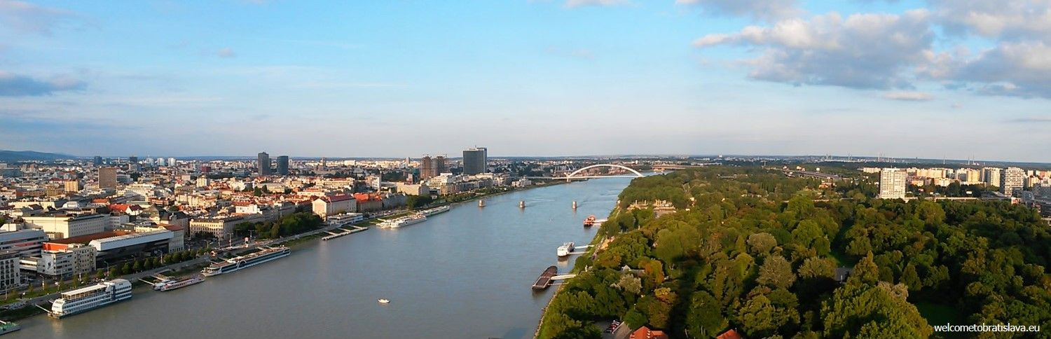 The view on the Danube, part of the Old Town and the Apollo bridge