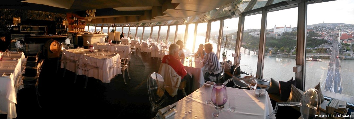 The restaurant in the UFO tower with a fantastic view on the Old Town