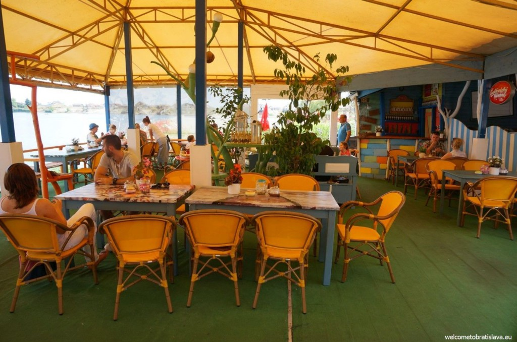 The restaurant's terrace is in a Hawaiian-style
