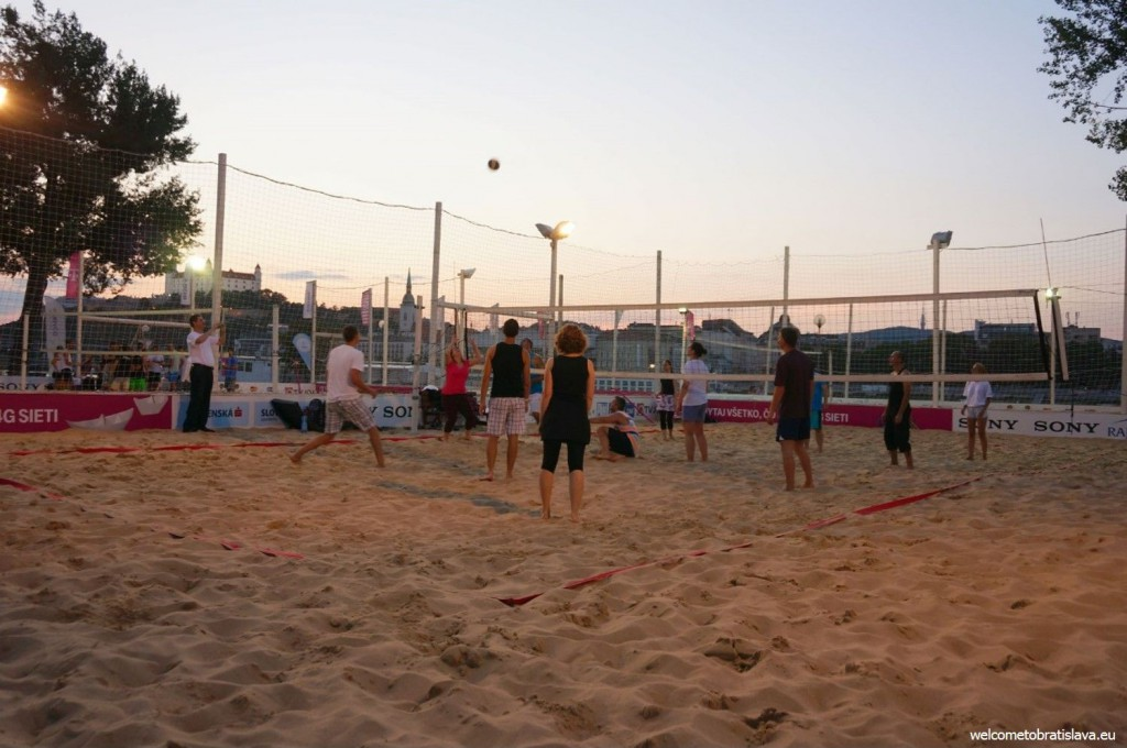 A beach volleyball field