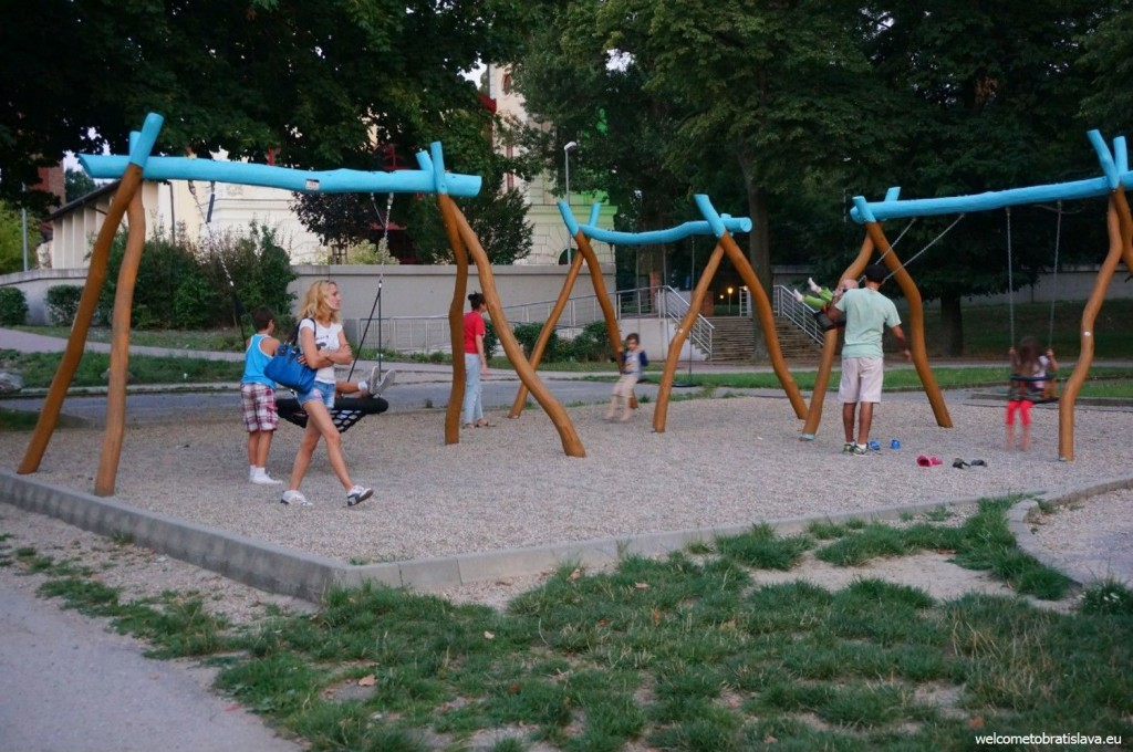 A playground for children in the back part of the beach