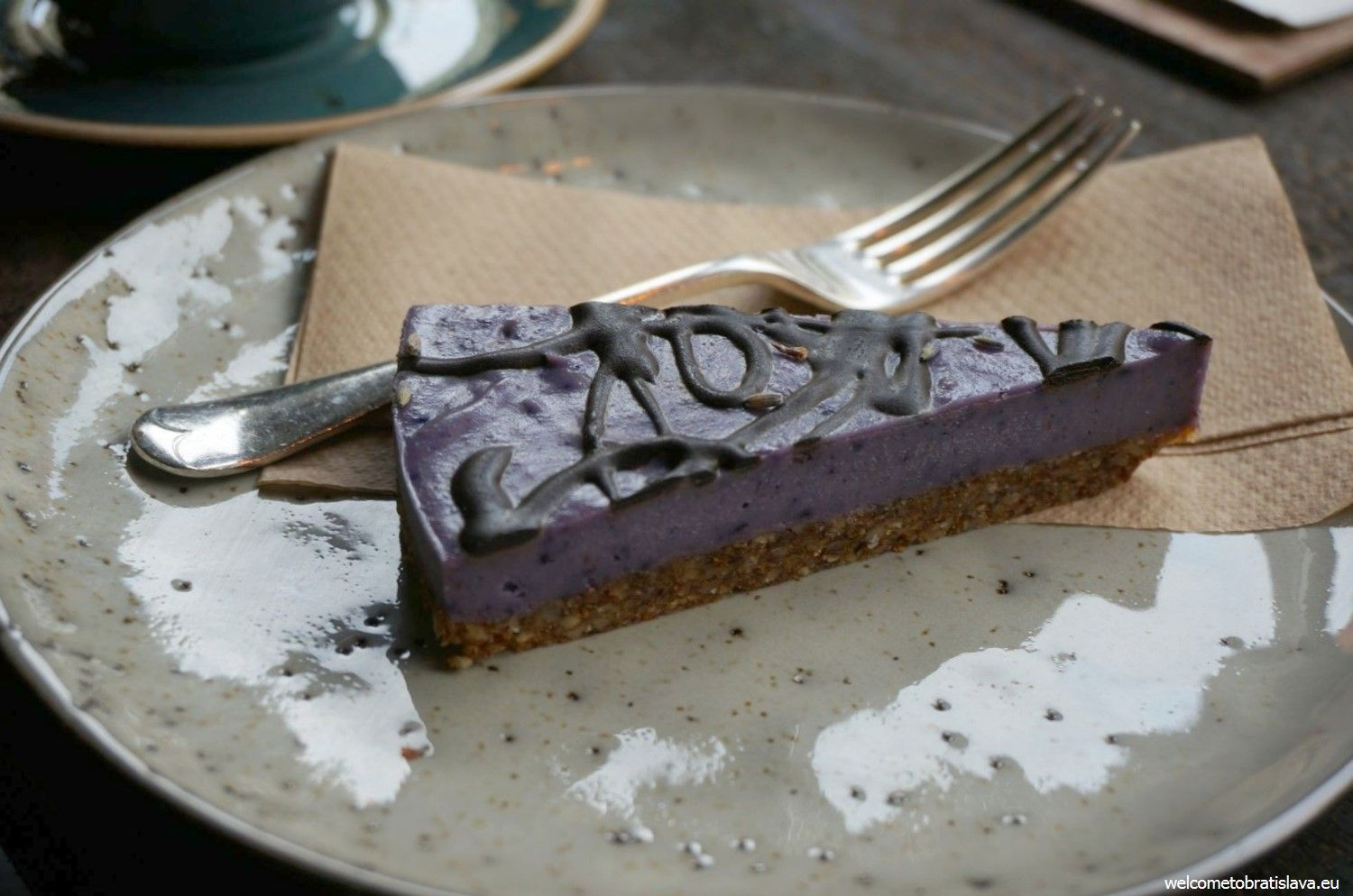 Urban House: Lavender raw cake with chocolate topping