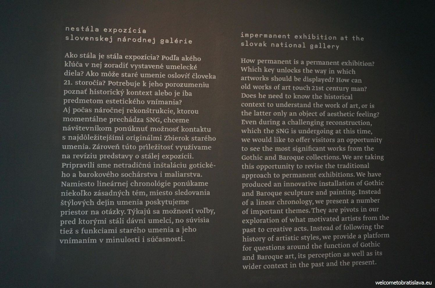 English descriptions on the walls