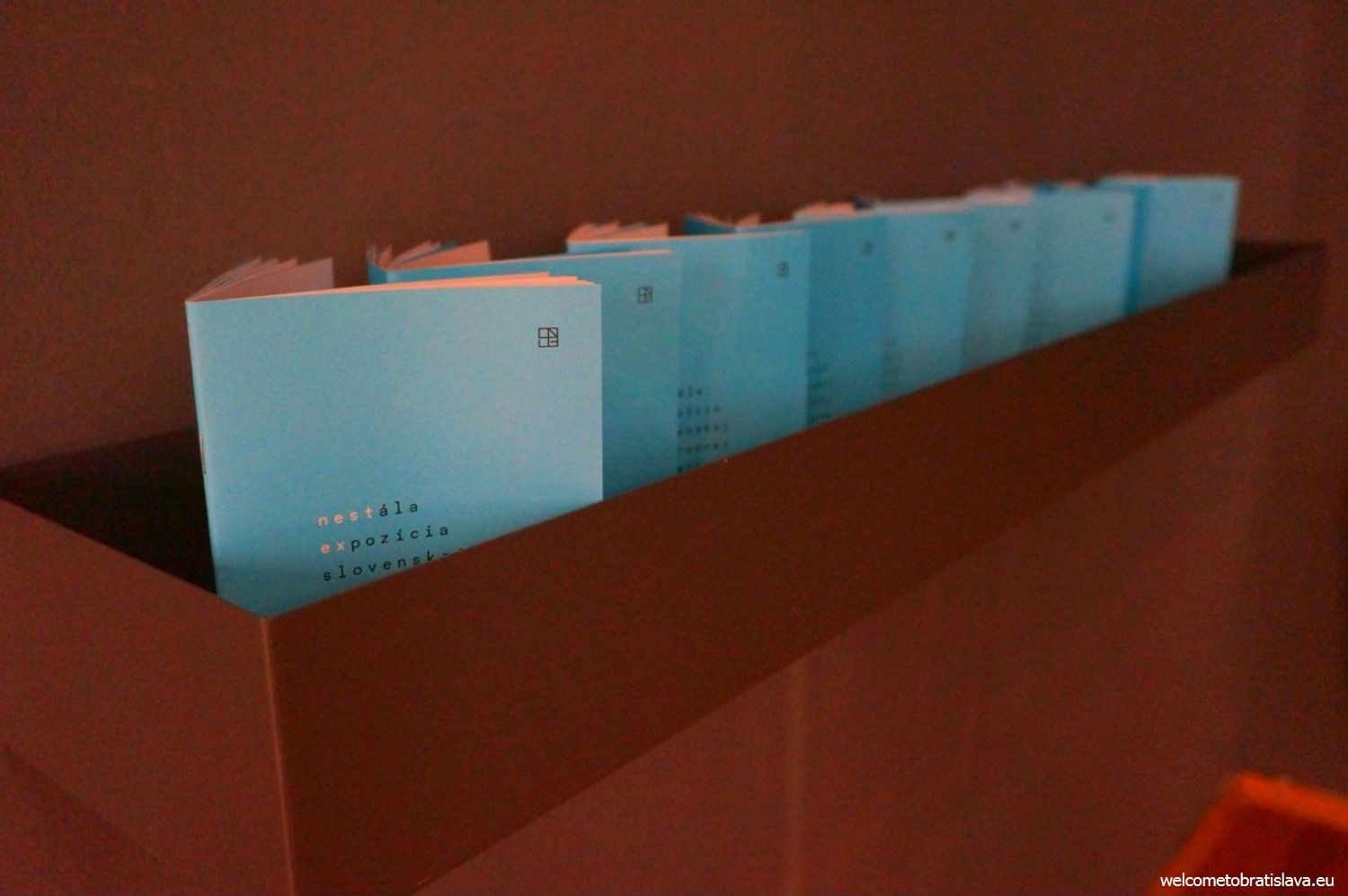 The blue booklets with objects' description