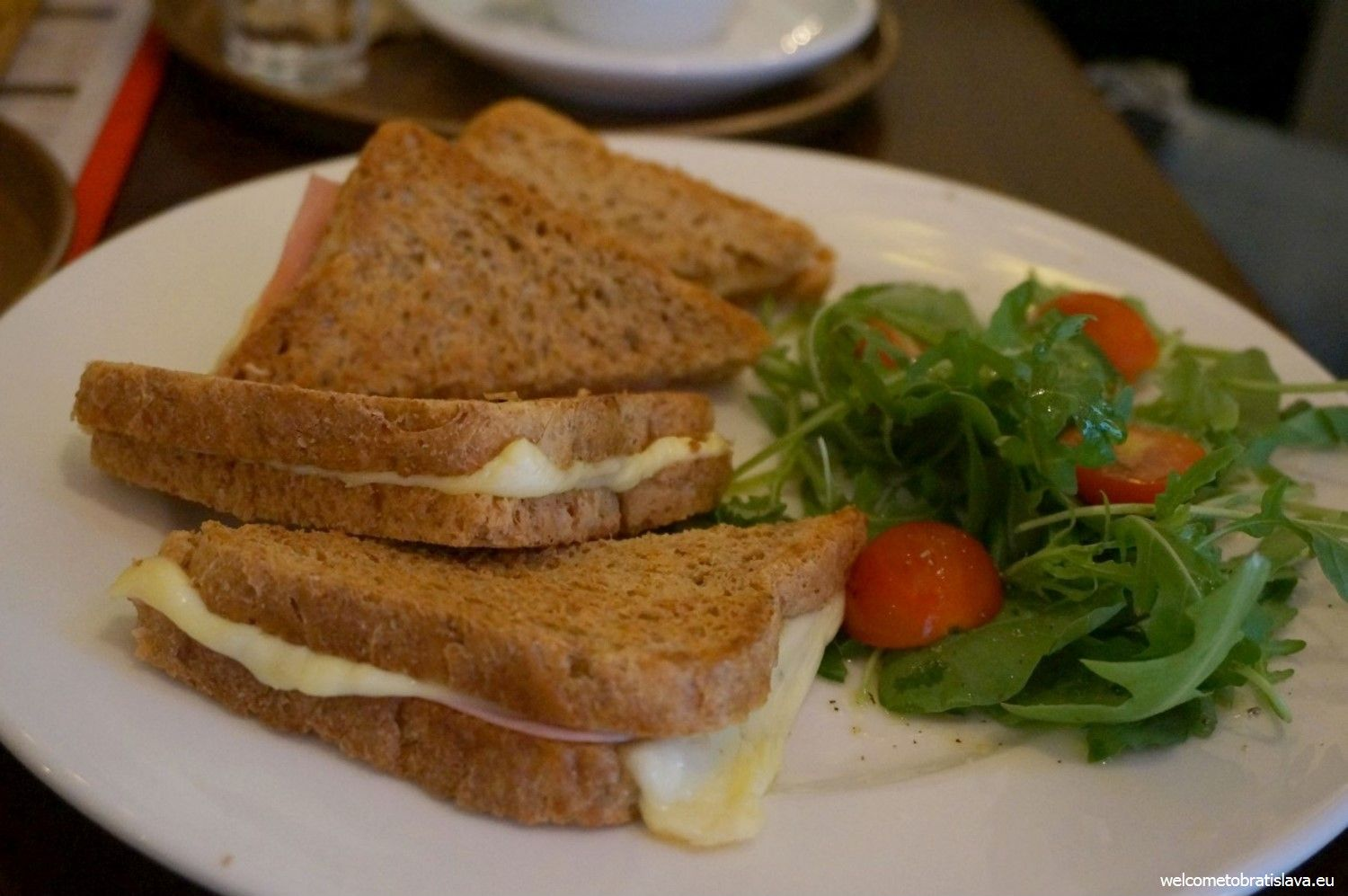 Breakfast in Mondieu: toasts with ham & cheese and salad