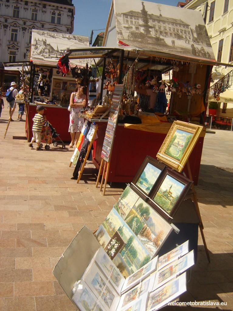 Outdoor markets at Bratislava's Main square