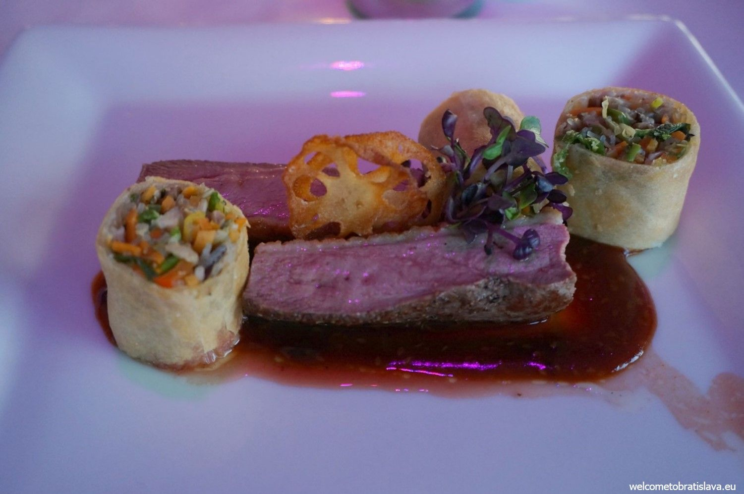 Grilled duck breast, vegetable spring roll and masao sauce