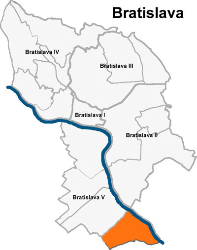 Bratislava has 5 districts which are numbered I-V