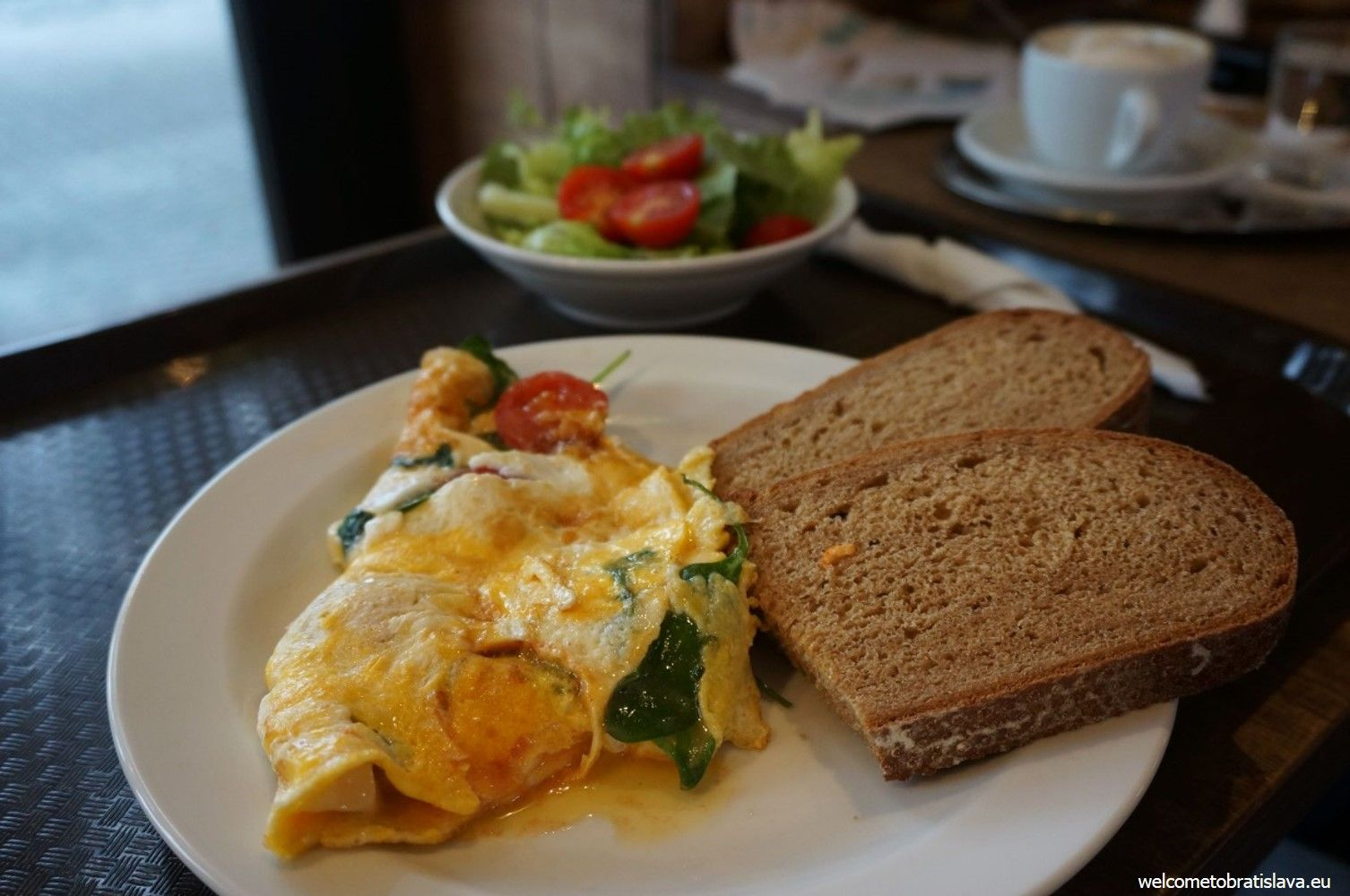 Omelet - always served with salad and bread