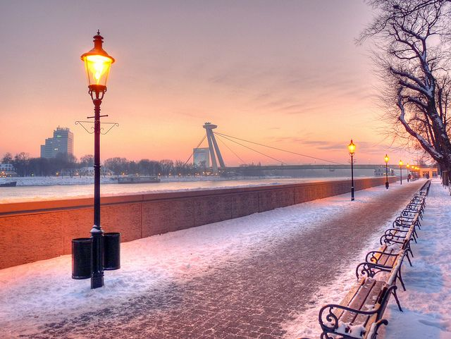 Walking along the Danube embankment