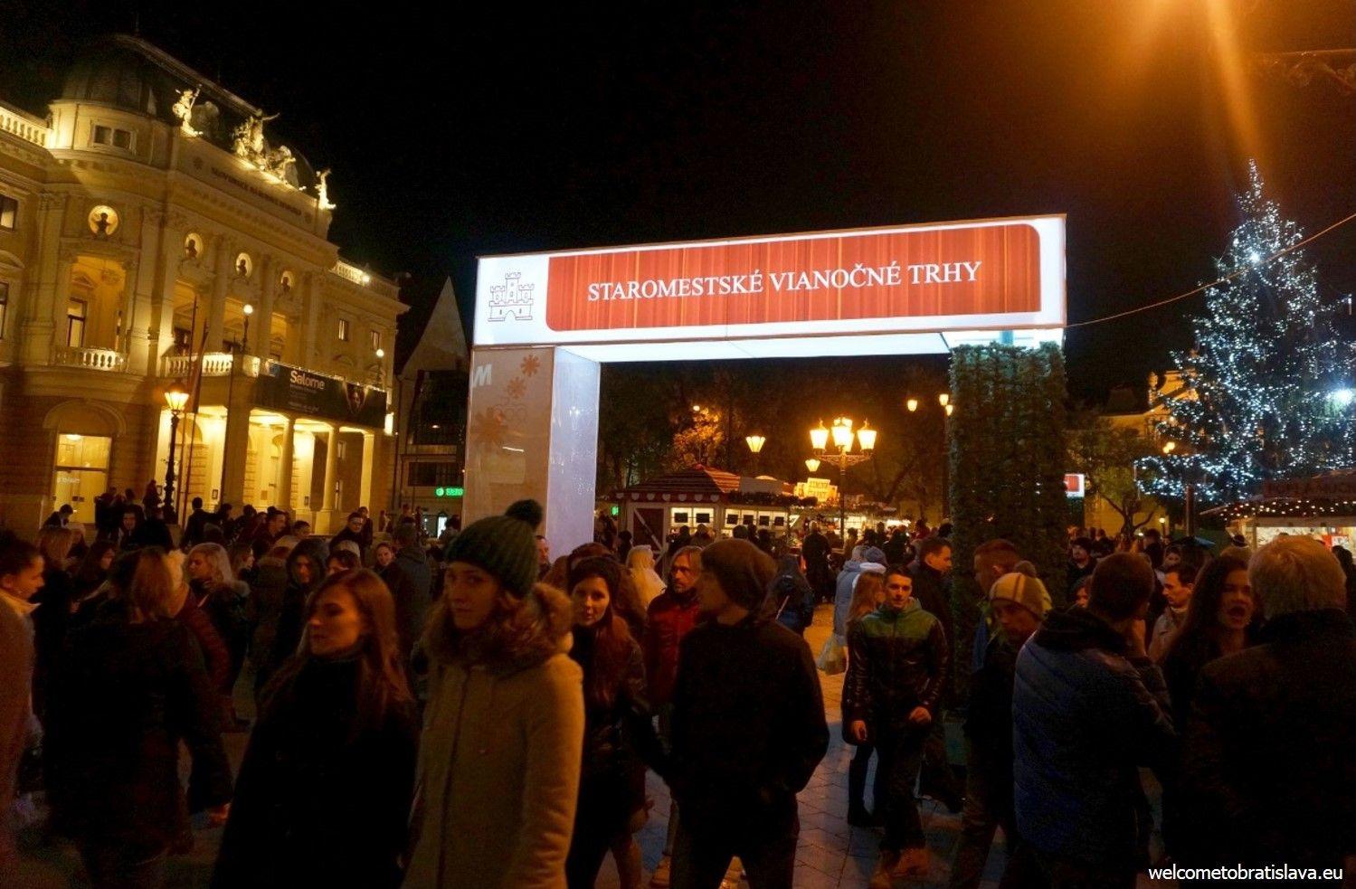 """""""Entrance"""" sign at the Hviezdoslav's square"""
