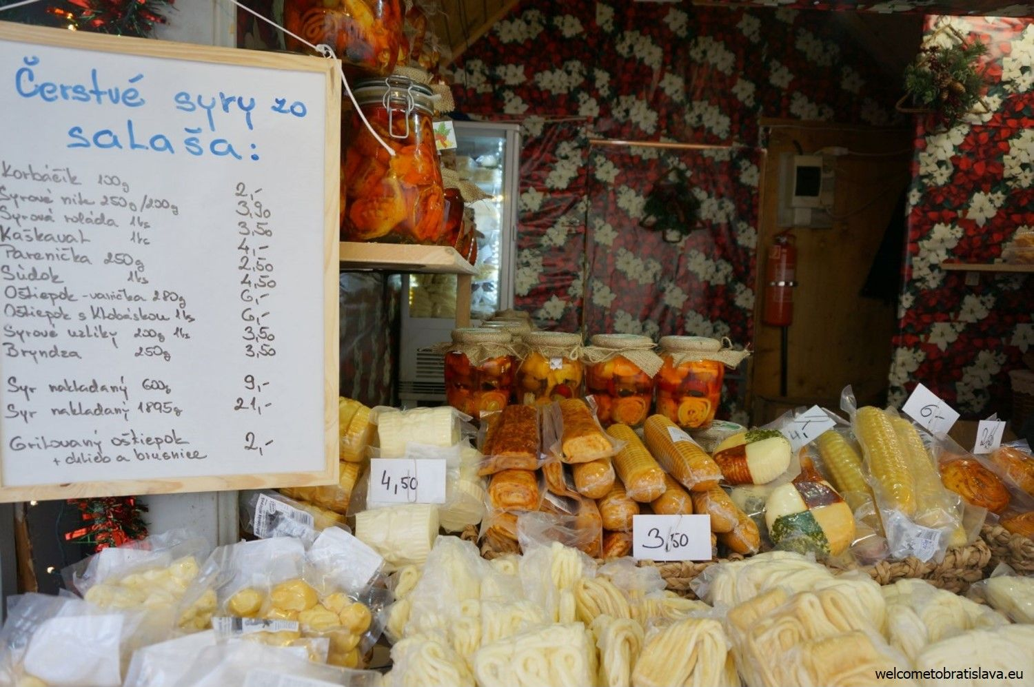 A selection of Slovak cheeses