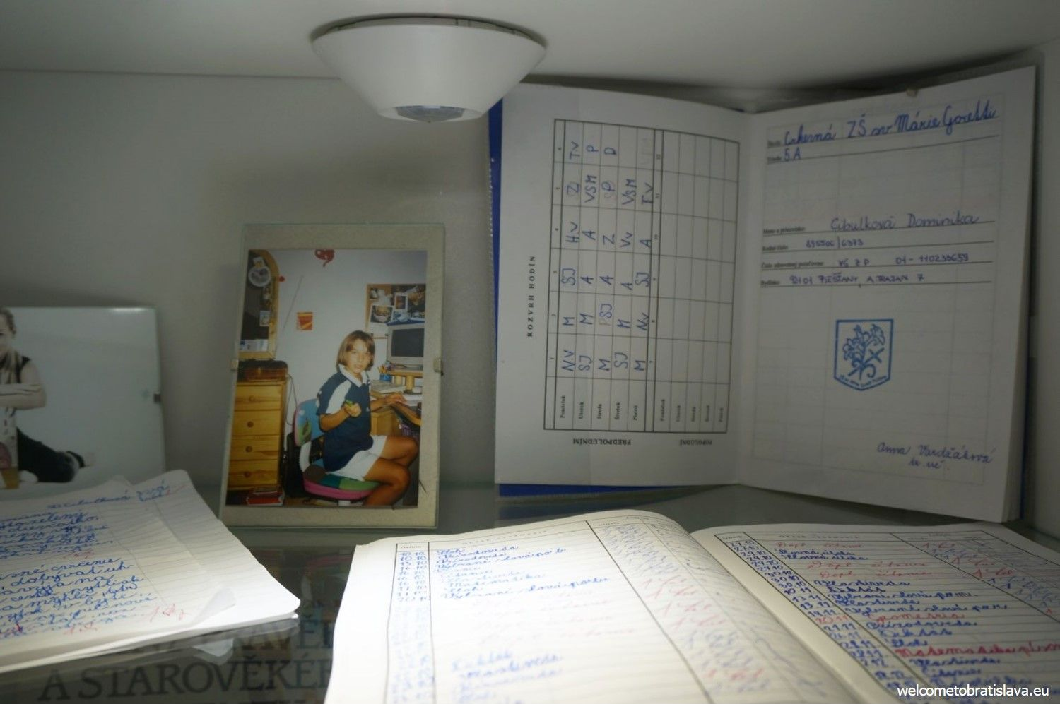 "The ""School"" section displays writing pads and results from the primary school along with a few pictures from the times she was a school girl."