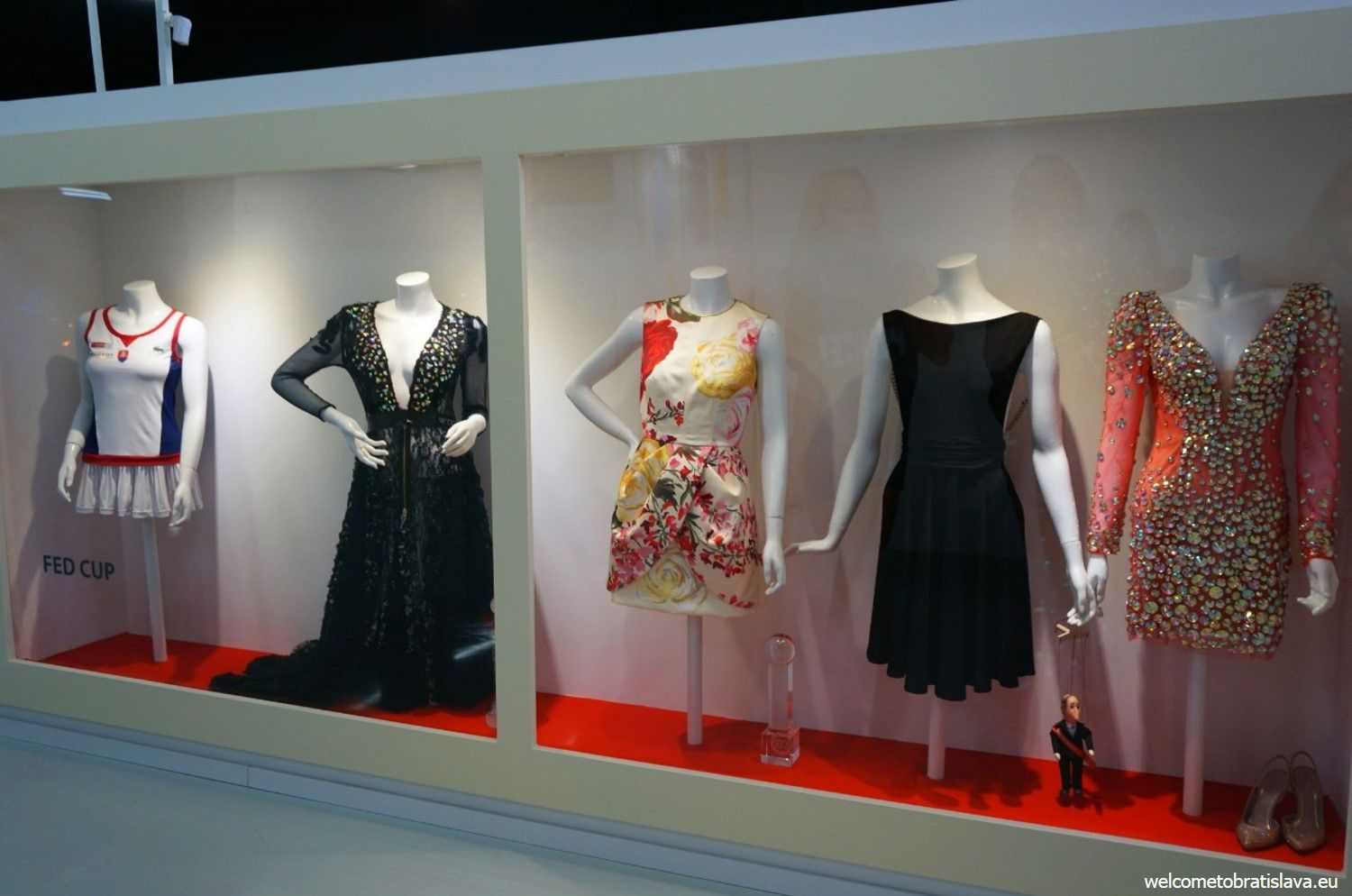 Have a look to the glass cabinets to see her uniforms as well as other dresses from her wardrobe.
