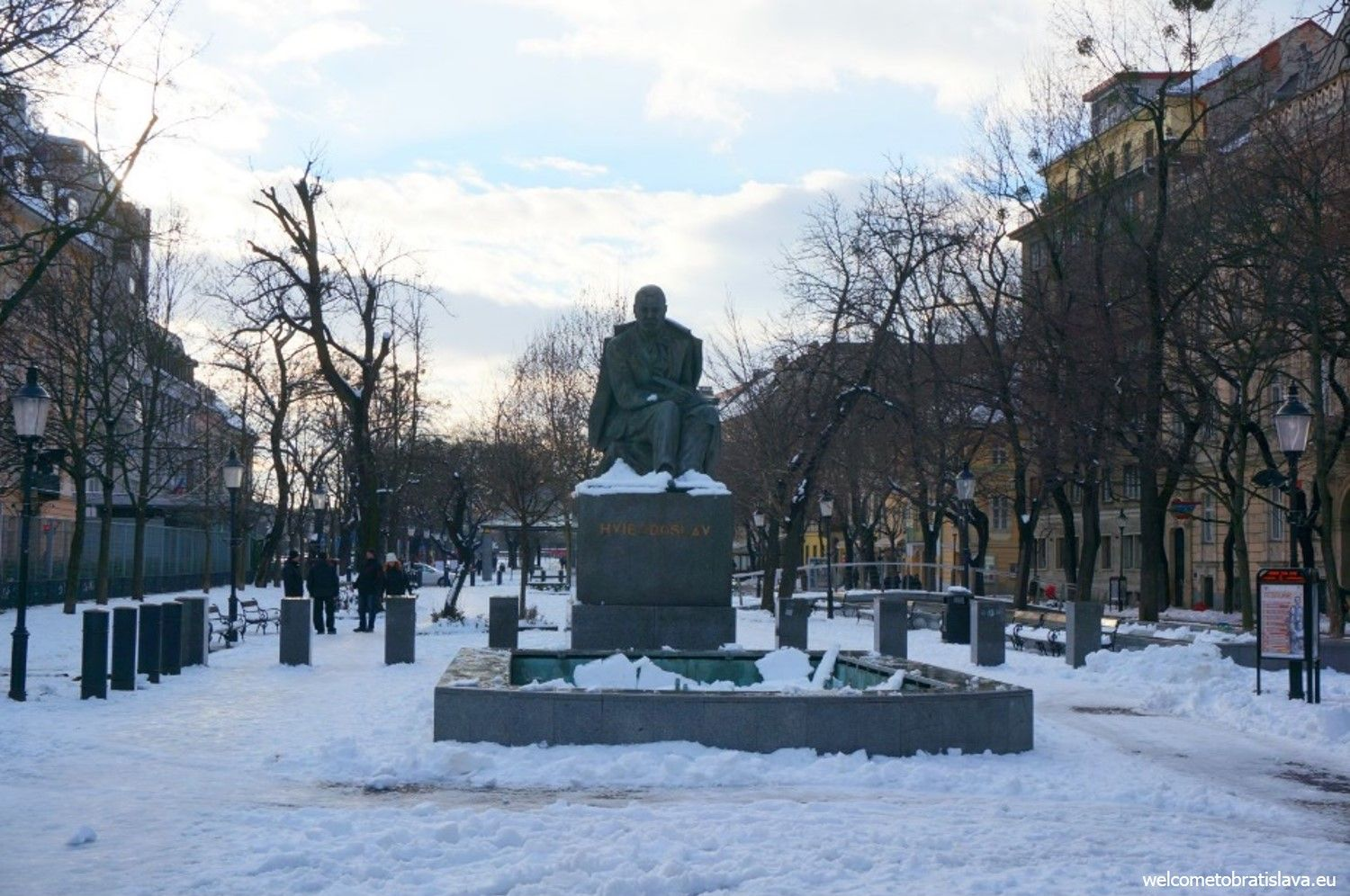 Hviezdoslav's square in snow