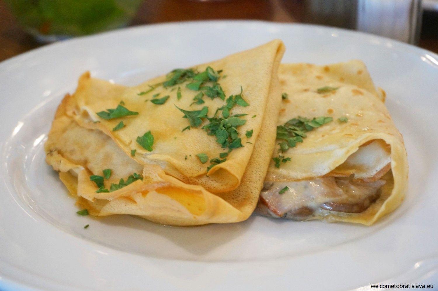 Pancakes with cheese and mushrooms