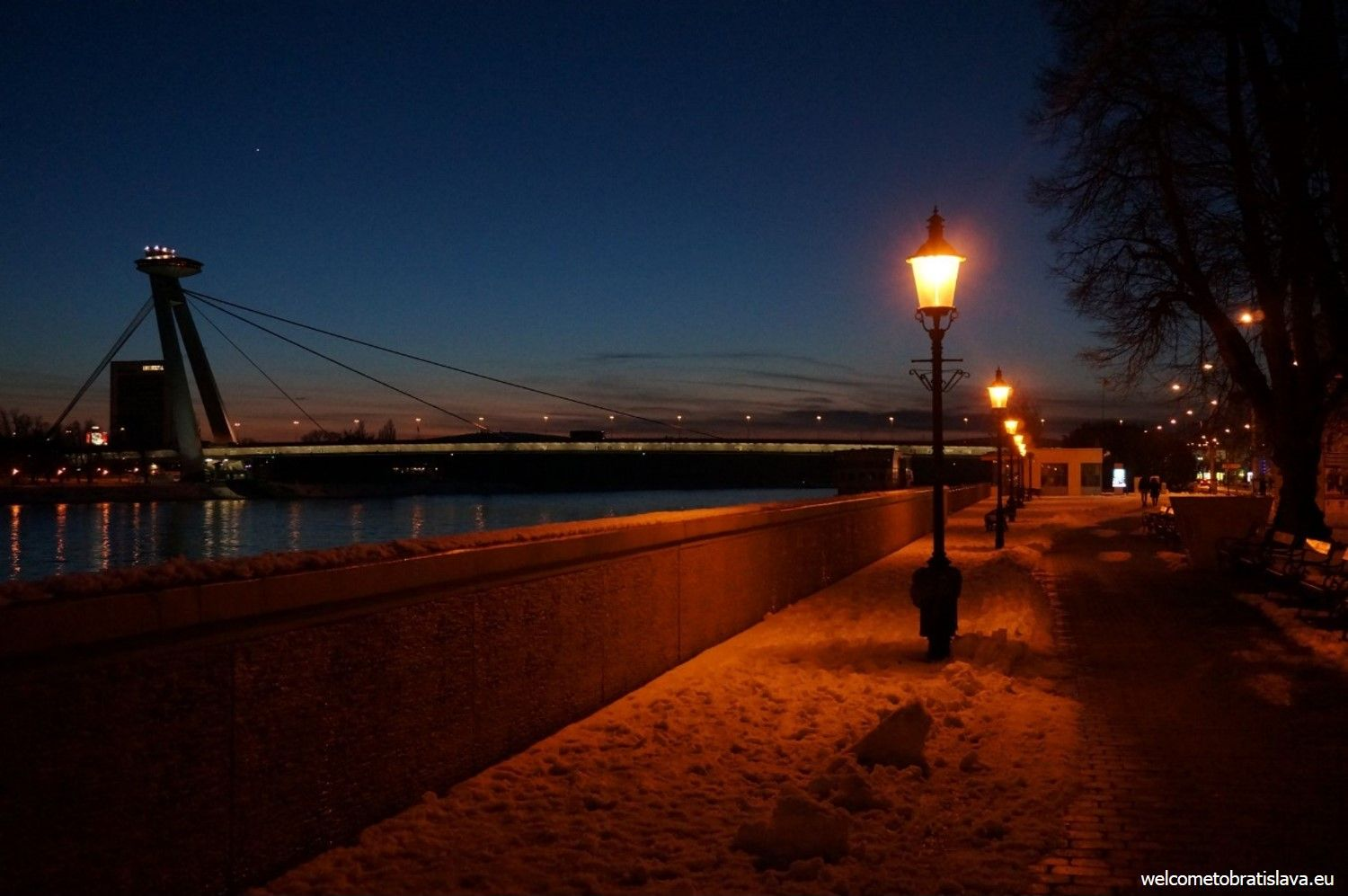 Danube embankment - view on the UFO bridge and tower