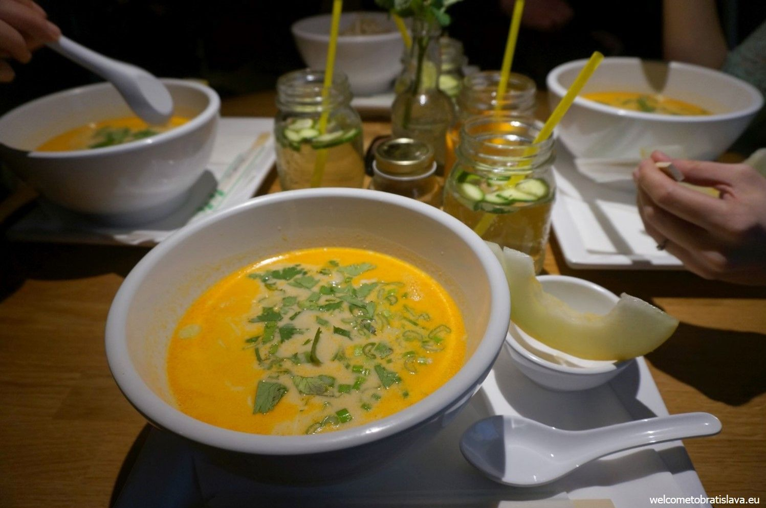 Coconut soup with chicken and noodles