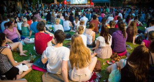 Example of what the Aperol Spritz open air cinema looks like