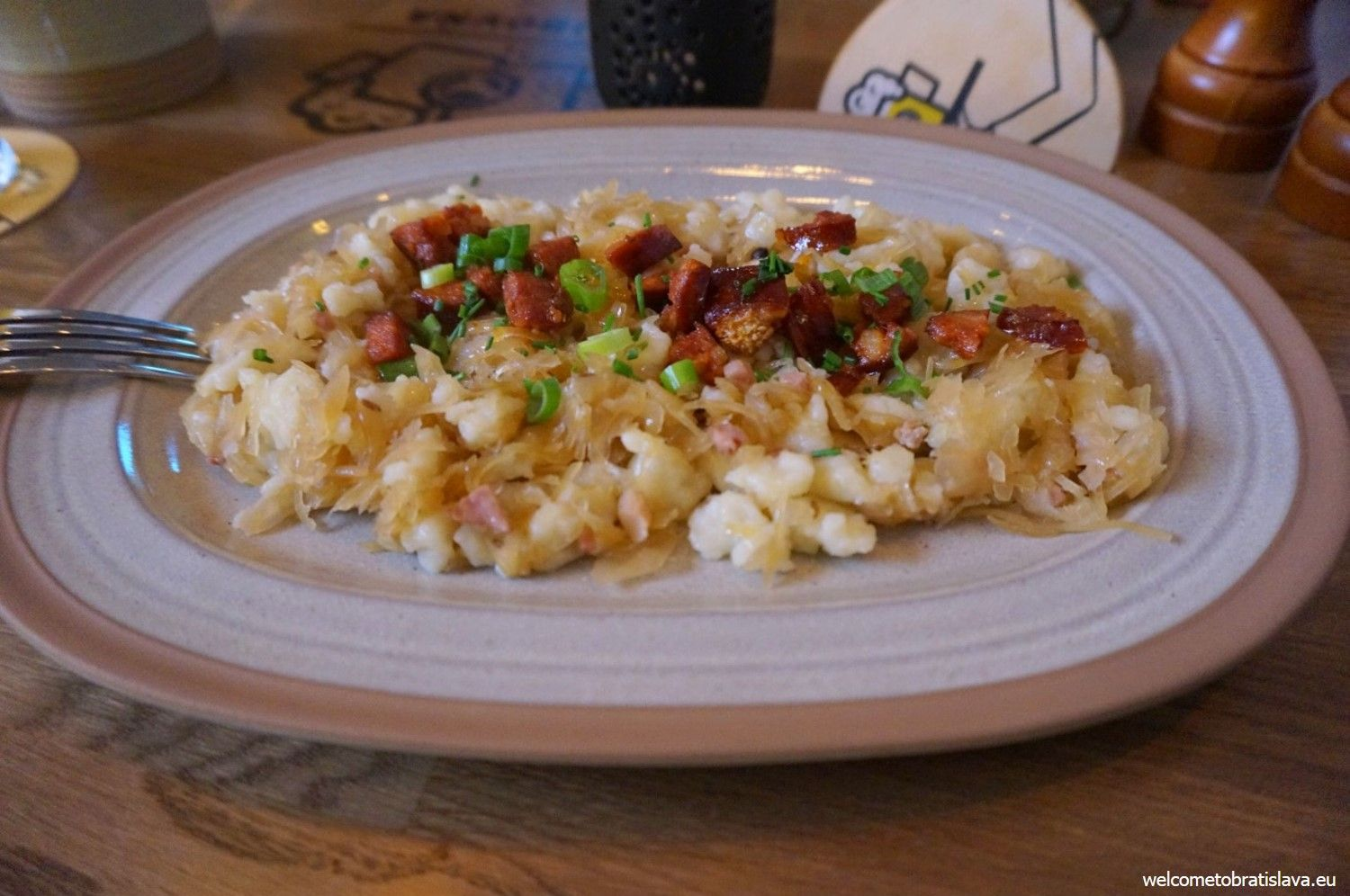 Kapustove halusky - gnocci with cabbage and bacon