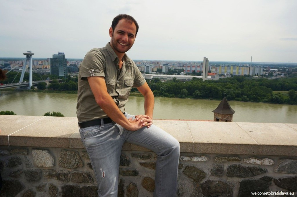 At the Bratislava castle walls, with the view on the UFO bridge and tower