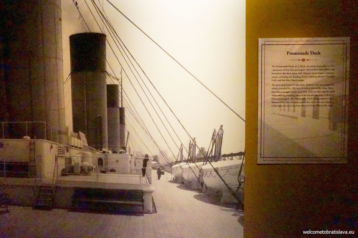 You'll see the old photos of the promenade deck, too