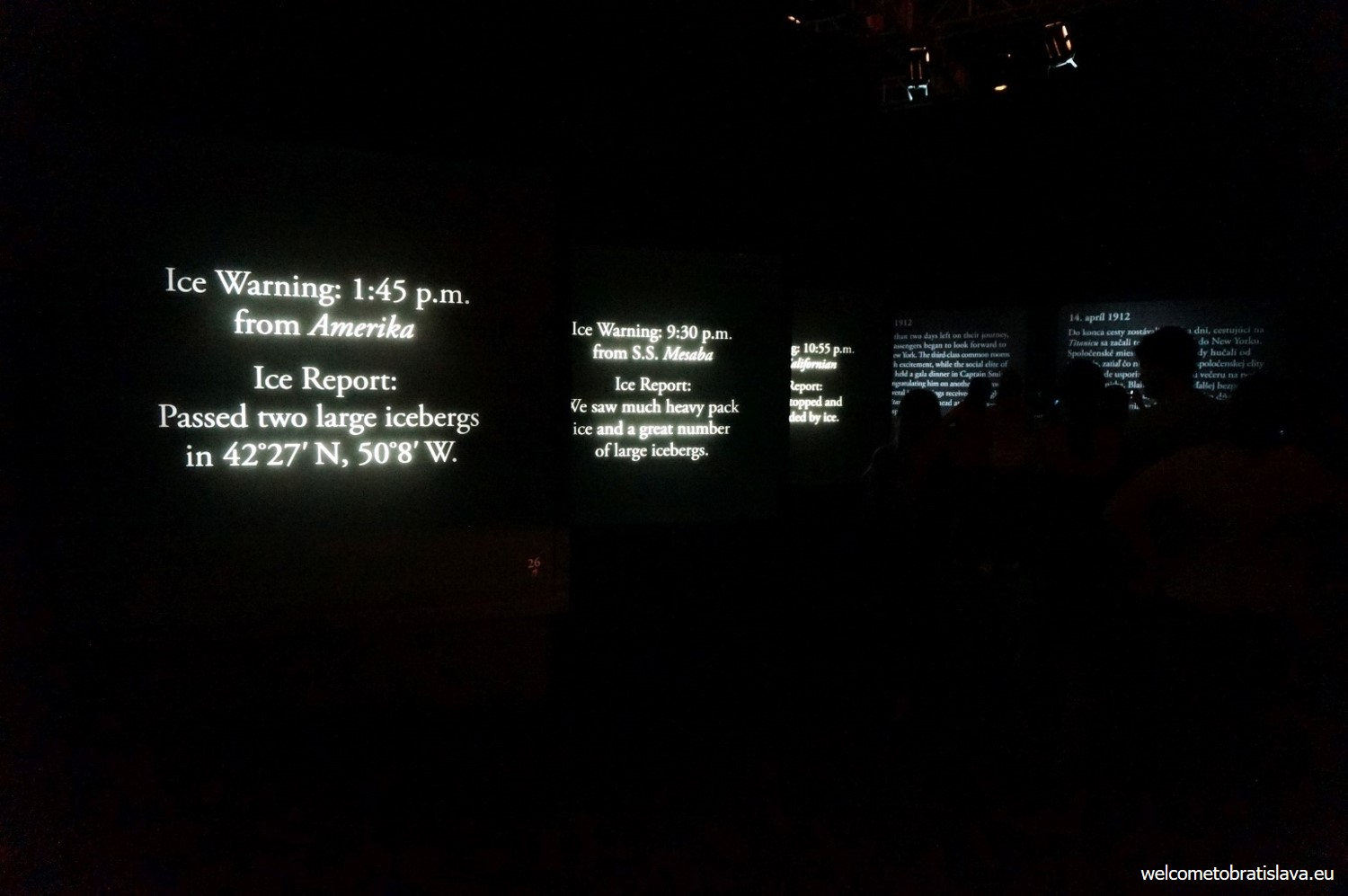 The dark room with displayed messages of ice warnings