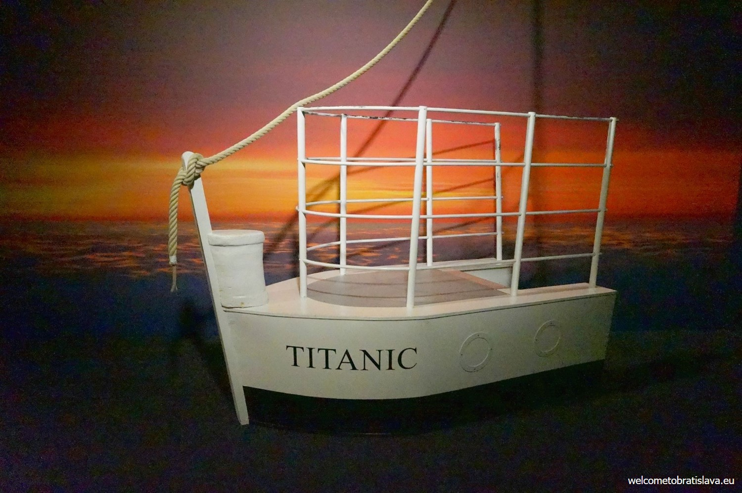 You'll have a chance to stand and take a picture on a small Titanic ship