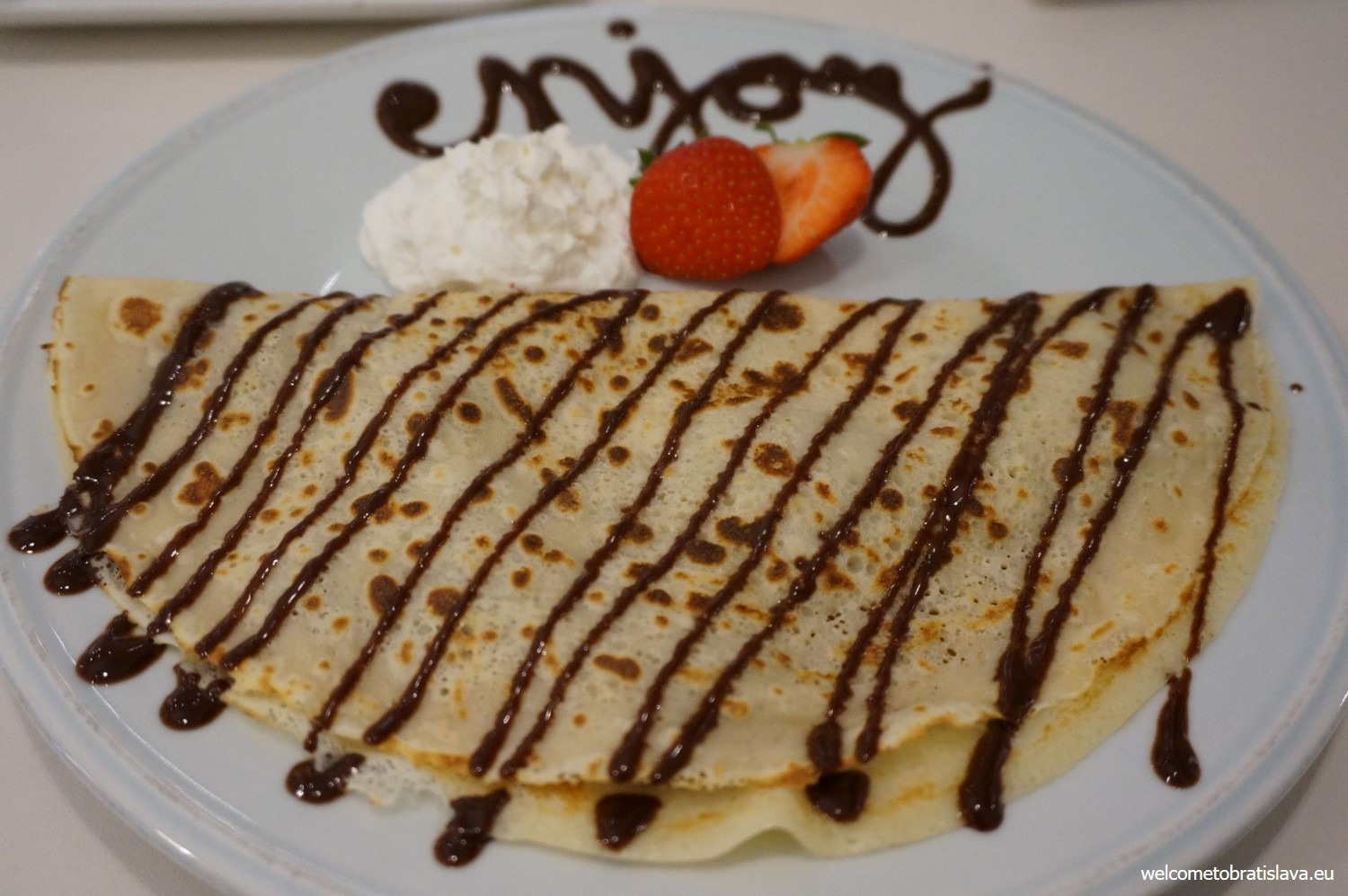 Pancake filled with chestnut puree and whipped cream