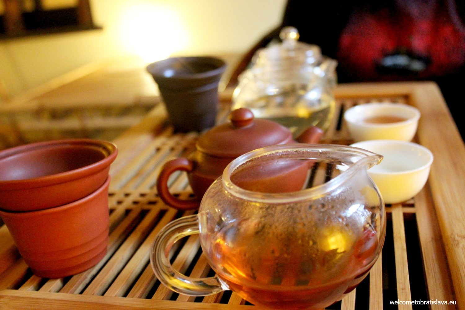 Tea is baked over the wooden embers which gives it a typical aroma and a kind of a burnt taste.