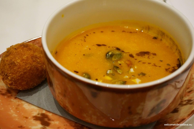 The creamy pumpkin soup