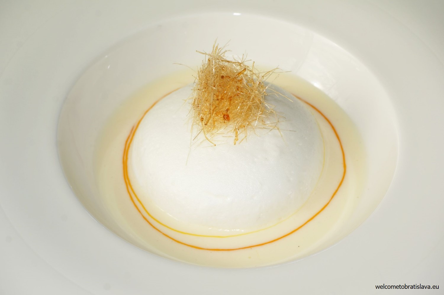 Ile flottante with Crème Anglaise and salted caramel