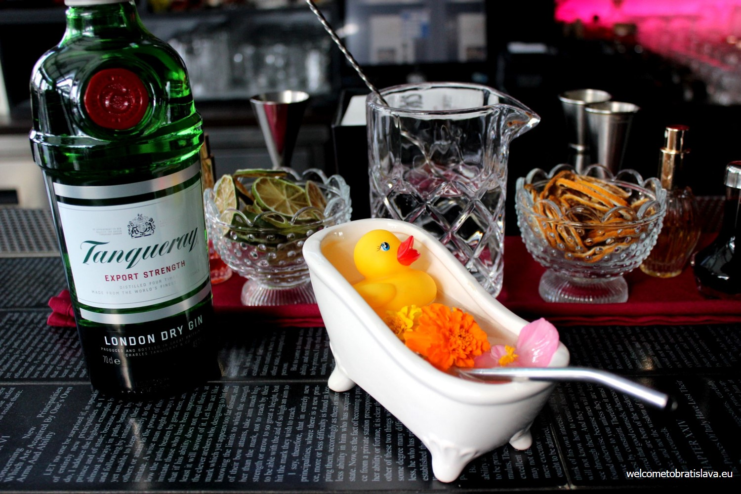 Best cocktail places Charles & Duck served in an actual bathtub