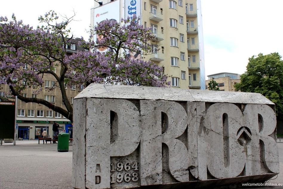 SOCIALIST ARCHITECTURE IN BRATISLAVA: Kamenne Square - marble stone