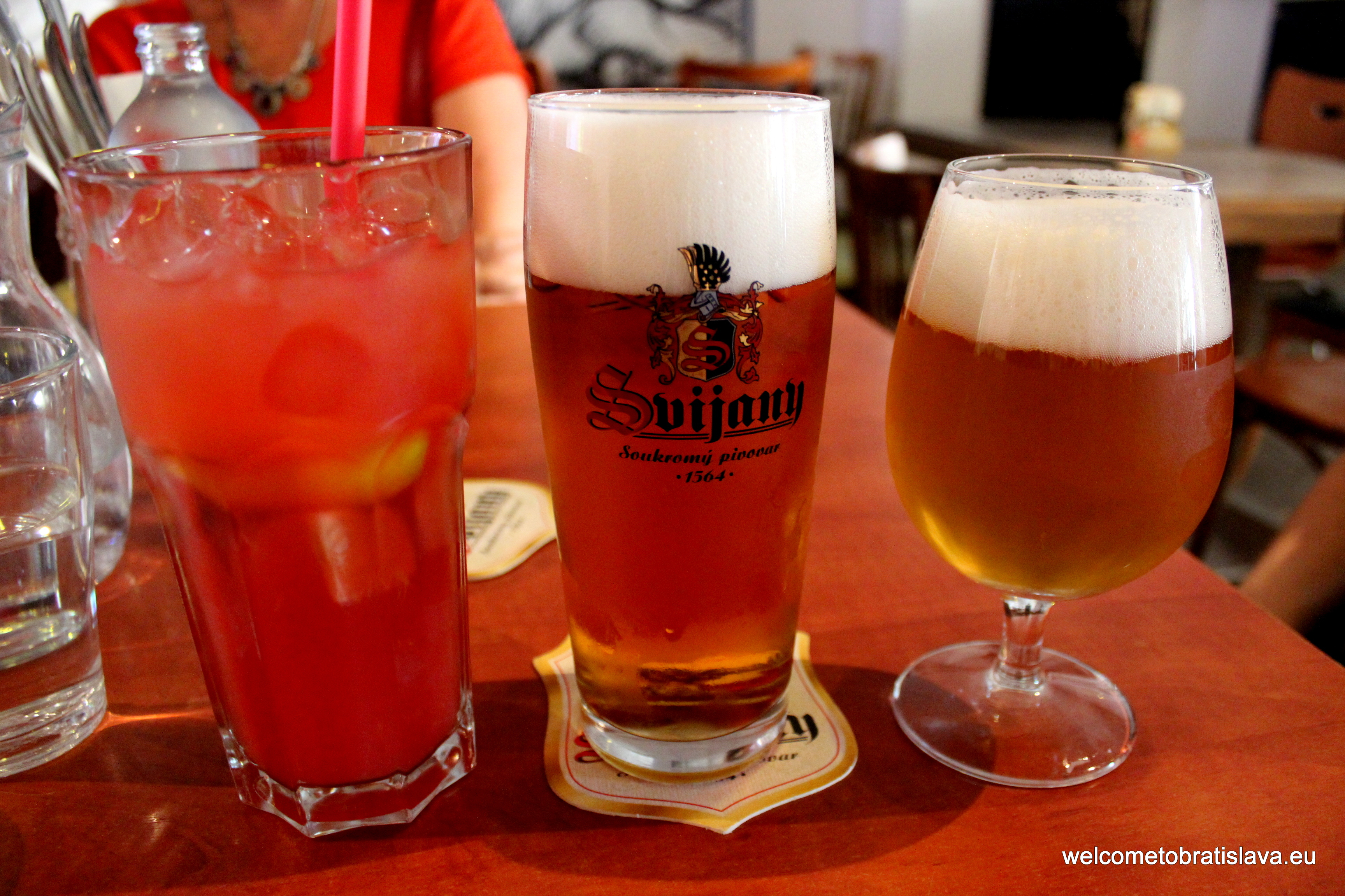 Rose lemonade, Svijany beer and Viennese light lager